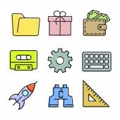 Miscellaneous linear icons set. — Stock Vector