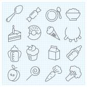 Food thin line icons set — Stock Vector