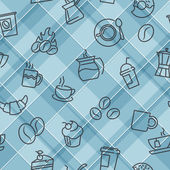 Vector seamless patterns with plaid background and coffee theme icons. For textile print or web design background — Stockvektor