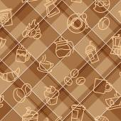 Seamless patterns with coffee theme — Stock Vector