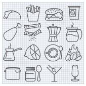 Food and drinks icons set — Stock Vector