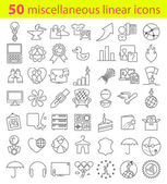 Miscellaneous  linear icons bundle — Wektor stockowy
