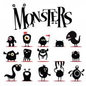 A lot of  black monsters — Stock Vector