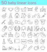 50 line baby icons — Stock Vector