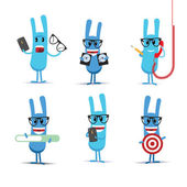 Set of blue rabbits characters — Stock Vector