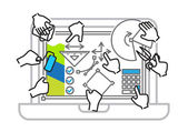 Illustration of digital workspace — Stock Vector