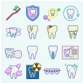 Tıp stomatology simgeleri — Stok Vektör