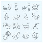 Childhood  thin line icons set — Stock Vector
