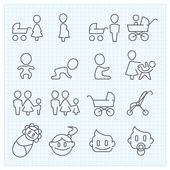 Childhood  thin line icons set — Stockvector