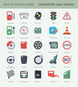 Flat transport and traffic icons — Stock Vector