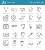 Dental medicine thin line icons — Stock Vector
