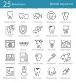 Dental medicine thin line icons — Wektor stockowy