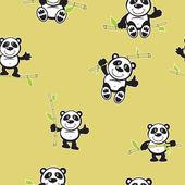 Panda with bamboo seamless pattern — Stock Vector
