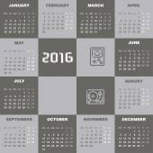2016 Calendar template — Stock Vector