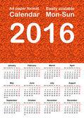 2016 Calendar template — Stock Vector