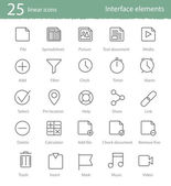 25 linear icons set — Vector de stock