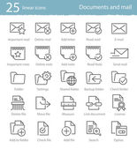 25 linear icons set — Stock Vector