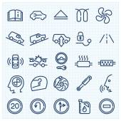 Car interface thin line icons — Stock Vector