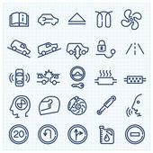 Icônes de voiture interface ligne mince — Vecteur