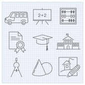 Thin linear school icons — Stock Vector