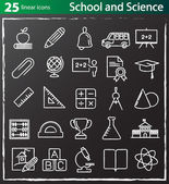 Thin line school, education and science icons set — Stock Vector
