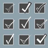 Vector confirm icons set. Yes icon. Check Mark icon.  Checkboxes. — Stock Vector