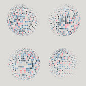 Collection of halftone sphere vector logo template. Abstract globe symbol, isolated round icon, business concept .You can use science and technology, tourism, financial or environmental background. — Stock Vector