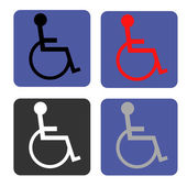 Disabled icon. Human on wheelchair symbol. Handicapped invalid sign. — Stock Vector