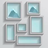 Set of white photo frames — Stock Vector