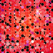 Red bright abstract mosaic background. Hexagons pattern. Retro design. — Stockvector