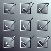 Vector confirm icons set. Yes icon. Check Mark icon.   Mettalic. — Stock Vector