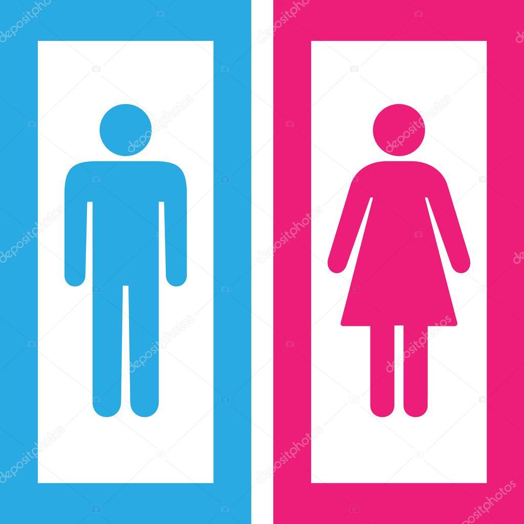 Imagenes De Baño Mujeres:Hombre y mujer baño signo, símbolo de baño — Vector de stock