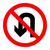 No U turn sign vector — Stock Vector