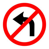 Illustration of no left turn round sign on white background — Stock Vector