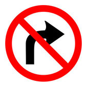 Illustration of no right turn round sign on white background — Stock Vector