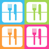 Fork and knife icon or sign, EPS10. — Stock Vector