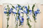 White photo-booth with blue hydrangeas — Stock Photo