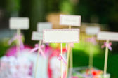 Empty blank card and for example guest names or dishes in wedding — Stock Photo