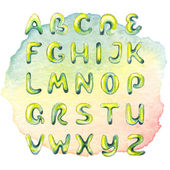Watercolor hand drawn alphabet on watercolor multicolored spot — Stock Photo