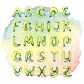 Watercolor hand drawn alphabet on watercolor multicolored spot — Stok fotoğraf