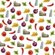 Italian cuisine watercolor seamless pattern background — Stock Photo #57859337