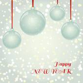 Christmas NewYear greeting card with balls on snowflakes backgro — Stock Vector