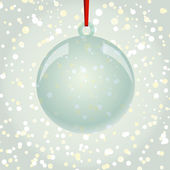 Christmas NewYear ball with ribbon hanging on snowflakes backgro — Wektor stockowy