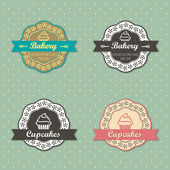 Bakery Cupcakes retro style labels — Stock Vector