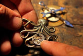 An unique steampunk jewelry — Stock Photo