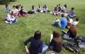 Schüler lesen im park — Stockfoto