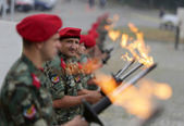 Bulgarian troopers with torches — Stock Photo