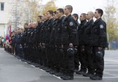 Young policemen in formation — Stock Photo