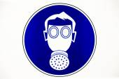 Gas mask work place sign — Stock Photo