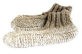 Knitted slippers — Stock Photo